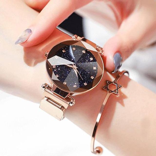 2020 New Ladies Magnetic Starry Sky Clock Luxury Fashion Women Watches Diamond Female Round Analog Casual Quartz Wristwatches 4