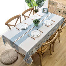 New Plaid Decorative Linen Tablecloth With Tassel Waterproof Thicken Rectangular Wedding Dining Table Cover Tea Cloth