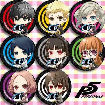 8 adet/1 grup Anime Persona 5 Morgana şekil 4808 rozetleri yuvarlak broş Pin hediyeler çocuklar oyuncak