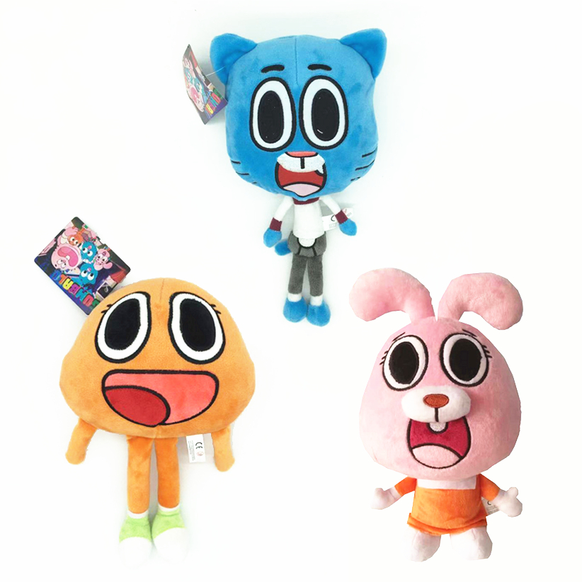 3pcs 25cm Cartoon Amazing World Gumball Darwin Anais Plush Doll Kawaii Cat Bunny Plush Toy Children Kids Birthday Present Gifts