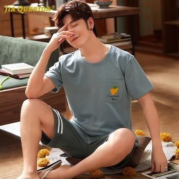 New Short Sleeve Short Pants Sleepwear Man Clothes Pyjamas Man Crew Neck Button Front Pocket Man Pajamas Man Sports Style 4