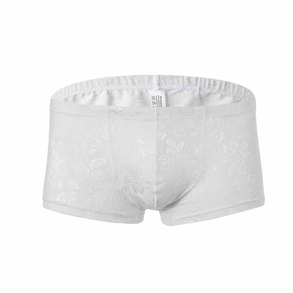 Fashion Boxer Pria Seksi Penuh Renda Tali Pakaian Dalam Pria Sexy Transparan Pakaian Dalam Wanita Pria Cepat Kering Mesh Pendek Cueca tanga