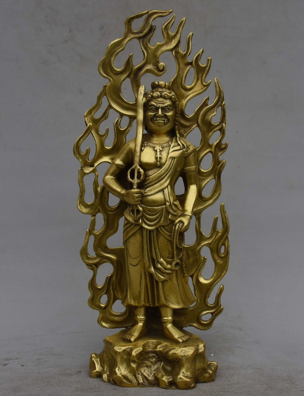 "christmas 11"" Japan Japanese Buddhism Copper Brass Fudo Myo-o / Acalanatha Buddha Statue"