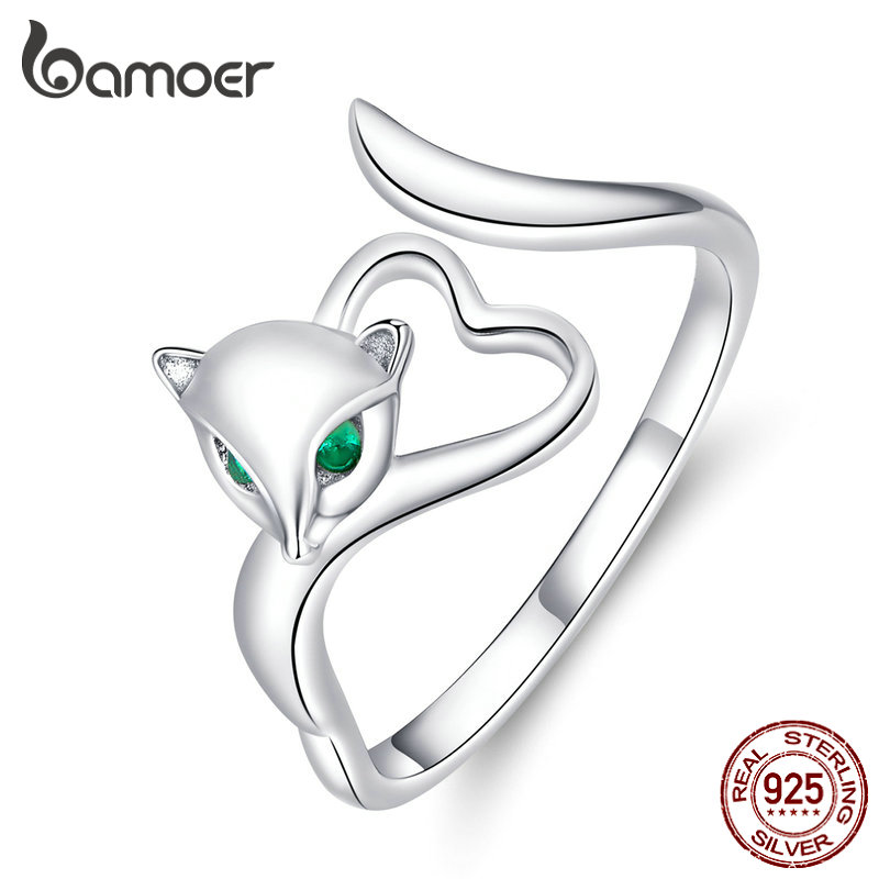 Bamoer Authentic 925 Sterling Silver Fox Animal Open Finger Rings For Women Heart Adjustable Free Size Ring 2019 New BSR090