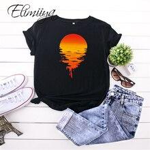 Elimiiya Sunrise Print T Shirt Cotton Women Female O-Neck Short Sleeve Tshirt Sun Printed Tshirts