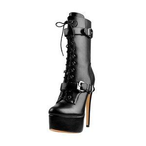 Image 4 - Onlymaker frauen Stiefeletten Schuhe 15 ~ 16cm Hohe Dünne Ferse 4cm Plattform Mode Heels Stiefel Metall platten Schnalle Stiefel Stilettos