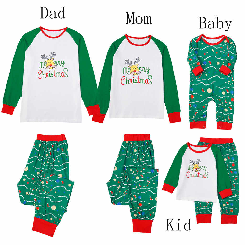christmas pajamas set Kids Teenager Stripe Cartoon Deer Outfits Xmas Family Outfits Father Mother Kids Baby Clothes Pajamas
