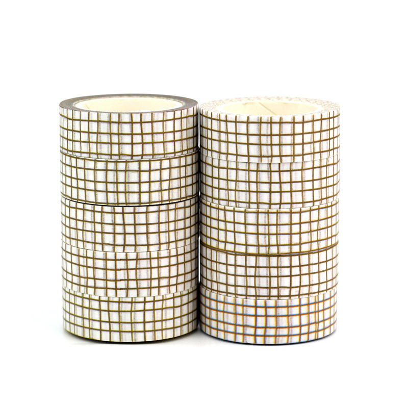 Wholesale High Quality 10pcs/lot Brown Grid Washi Tapes DIY Decor Scrapbooking Planner Adhesive Masking Tapes Cute Stationery