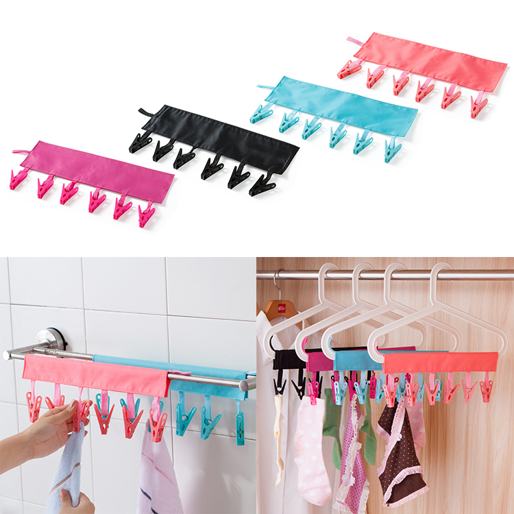 Foldable Clothes Rack Clip Multi-functional Travel Portable Clothes Hanger Drying Rack 6 Clip Hanger Towel Sock Traveling Hanger