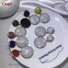 CXQD Fashion Shining Circle Drop Earrings Precision Inlay Gold Multicolor Rhinestone Earrings for Women Wedding Party Jewelry