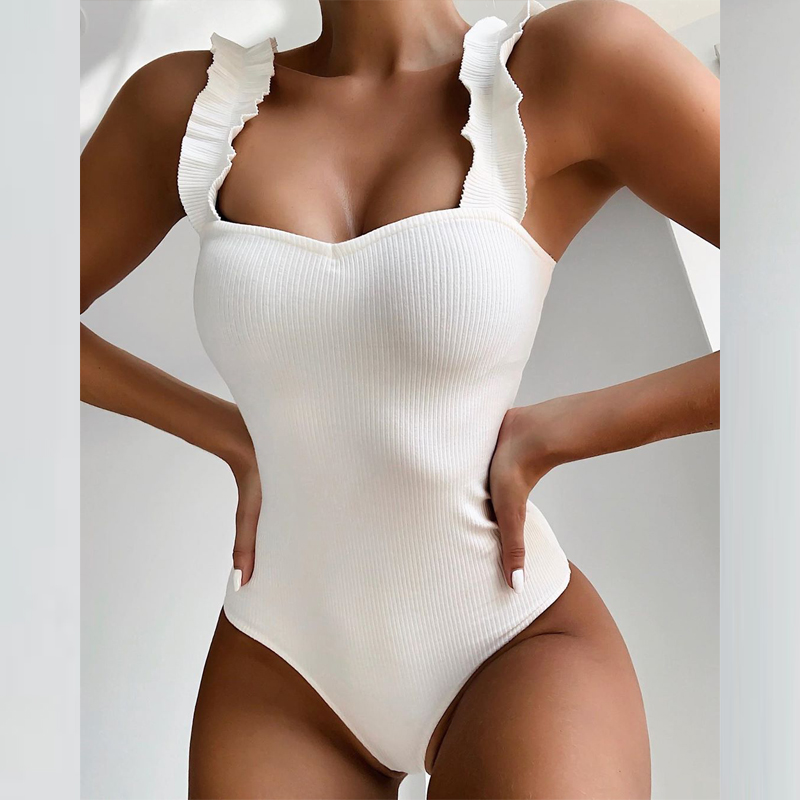 Ribbed White Sexy bodysuit one piece swimsuit ruffles swimwear women High Waist bikini 2019 bathing suit Monokini Bathers