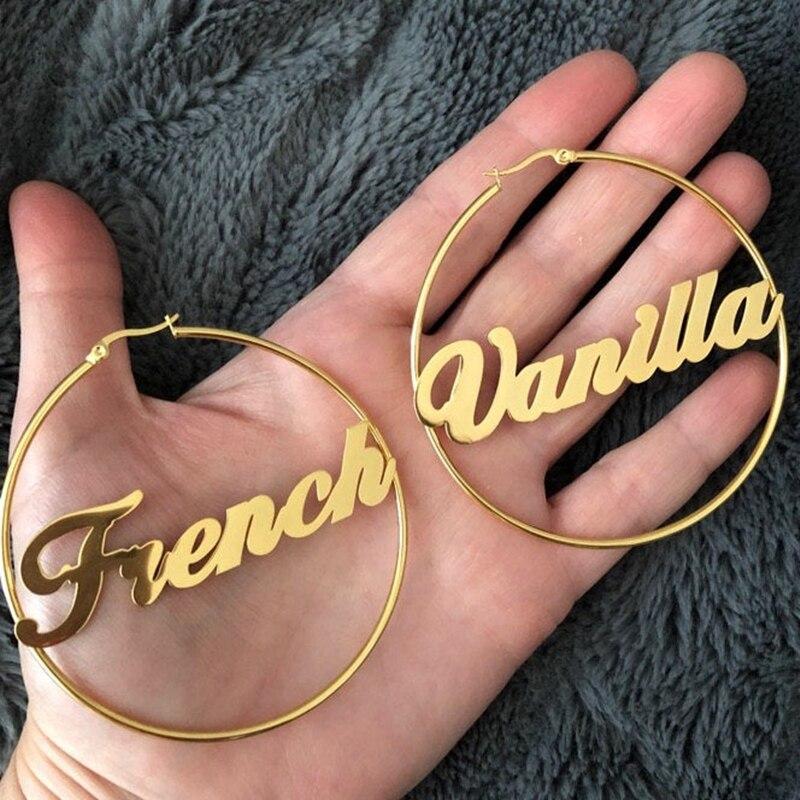 Custom Hoop Name Earrings Fashion Stainless Steel 70MM Diameter Boho Personalised Name Earrings Modern Brincos With Box