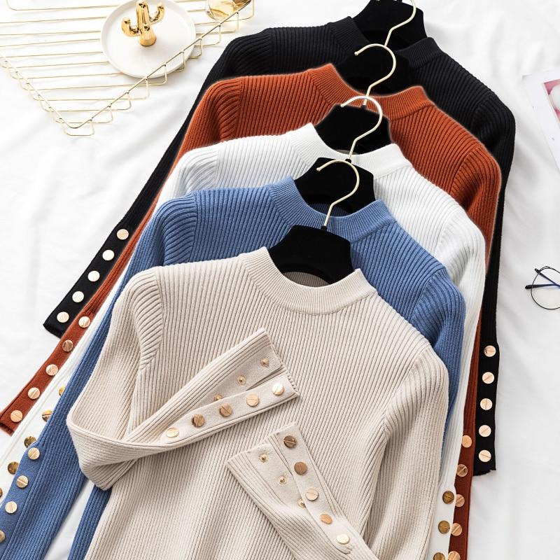 Long Knit Sweater Turtleneck Knit Long Sleeve Knitwear Jumper Women Pullover