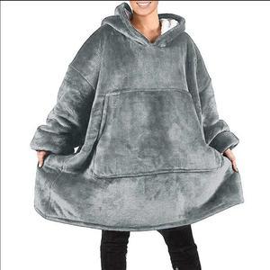 Image 2 - Oversized Hoodies Sweatshirts Women Plaid Blanket Wearable Hoodie Blanket with Sleeves Winter Hooded Sweatshirts Sherpa Blanket