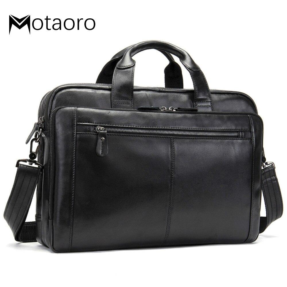 Men Briefcases Male Genuine Leather Laptop Bag For Macbook Office Bag 14 Computer Document Bag Men's Bags Messenger Bolso Hombre