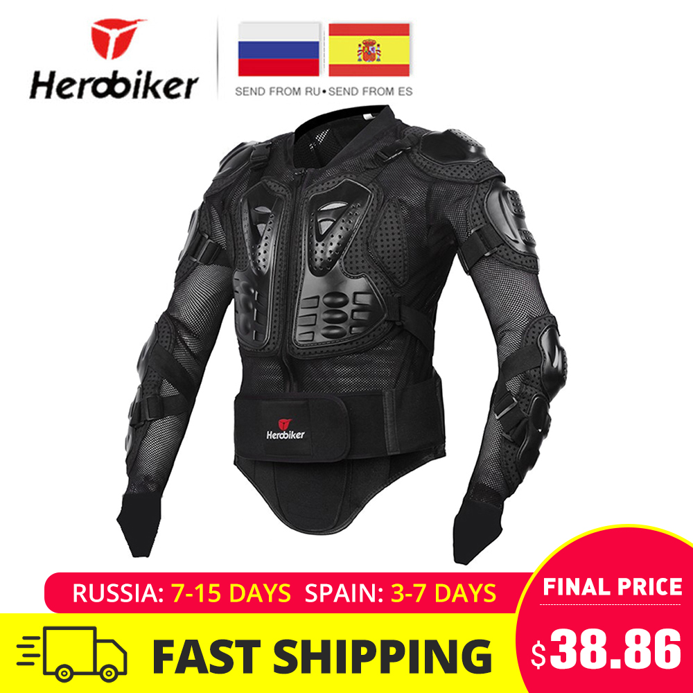 HEROBIKER Motorcycle Jacket Men Full Body Motorcycle Armor Motocross Racing Moto Jacket Riding Motorbike Protection Size S 5XL #-in Jackets from Automobiles & Motorcycles    1