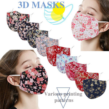 Adult Women Fashion Floral Printed Mask Dustproof Windproof Mouth Mask Cotton Face Mask Outdoor Riding Quick-drying Mask