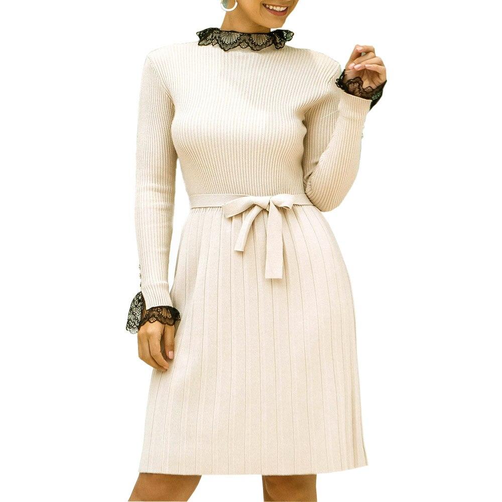 Women Casual Half-high Collar Lace Splice Knit Bow Tie Sweater Dress Pleated Dresses Knitwear