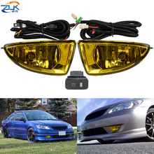 ZUK Yellow Front Bumper Fog Light Fog Lamp Additional Set For HONDA CIVIC 2004 2005 ES Foglight Kit With Cables Switch Relay