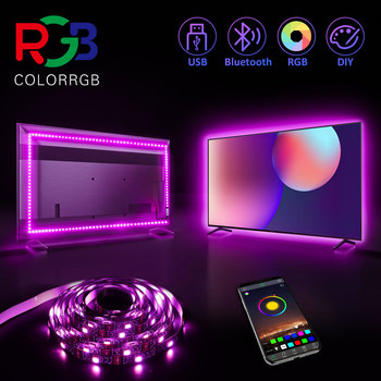 ColorRGB podświetlenie do telewizora USB zasilany LED pasek światła RGB5050 przez 24 Cal-60 Cal telewizor z dostępem do kanałów lustro PC kontrola aplikacji Bias tanie i dobre opinie aiopp CN (pochodzenie) ROHS SALON PRZEŁĄCZNIK Taśmy Smd5050 tv back light