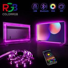ColorRGB podświetlenie do telewizora USB zasilany LED pasek światła RGB5050 przez 24 Cal-60 Cal telewizor z dostępem do kanałów lustro PC kontrola aplikacji Bias tanie tanio aiopp CN (pochodzenie) ROHS SALON PRZEŁĄCZNIK Taśmy Smd5050 tv back light