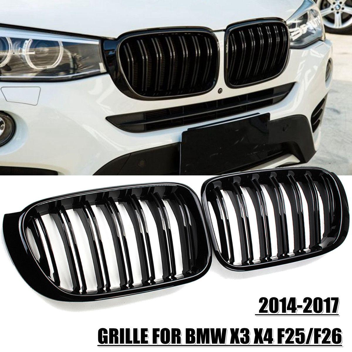 2X M スタイルの車のフロントグリルグリルメッシュネットトリムストリップカバーグロスブラック Bmw X3 X4 F25 F26 2014 2015 2016 2017