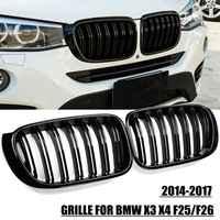2X M styl samochodów przednia Grille Grill Mesh netto pokrywa zgrabna gazy na połysk czarny dla BMW X3 X4 F25 F26 2014 2015 2016 2017