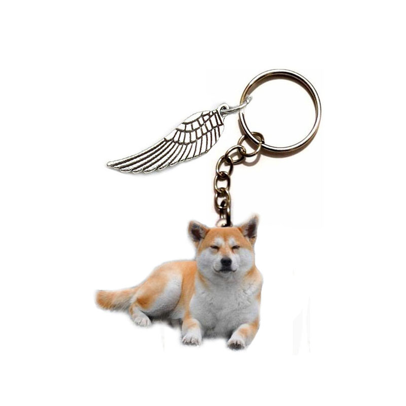 Akita Dog Acrylic Keychain Flying Wing Dogs Silver Keyring Car Pendants Gift Best Friend Key Chain Accessories Keyring Men Toy