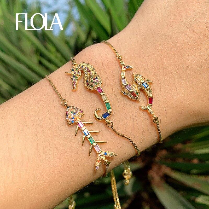 FLOLA Zircon Dolphin Rainbow Tennis Bracelet Crystal Fish Bone Woman 925 Silver Jewelry pulseras doradas mujer brtb63