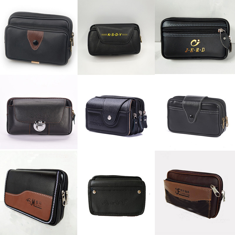 Men Waist Packs PU Waterproof Mobile Phone Bag Wearing A Belt Waist Bags Casual Work Package Popular Black Color Waist Bag