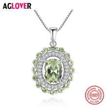AGLOVER 925 Sterling Silver Vintage Green Oval Zircon Pendant Long Necklace Ladies Christmas Party Jewelry Girls Gifts