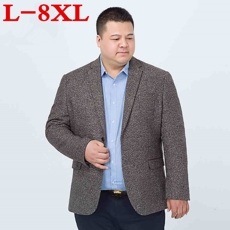 Plus Size 8XL  Casual Men Knit Suit Blazer Business Loose Costume Homme Blazer Masculino Male Woolen Suits Vintage Jacket Coat