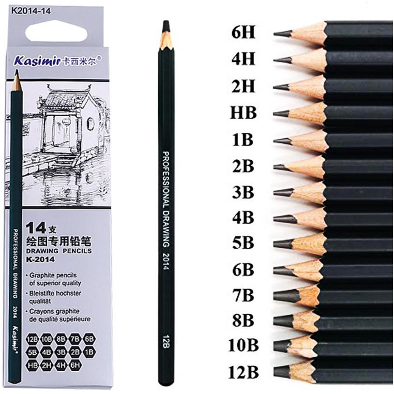 14 Pcs/set Professional Art Sketch Drawing Writing Pencil1B 2B 3B 4B 5B 6B 7B 8B 10B 12B 2H 4H 6H HB Pencil Stationery Supplies
