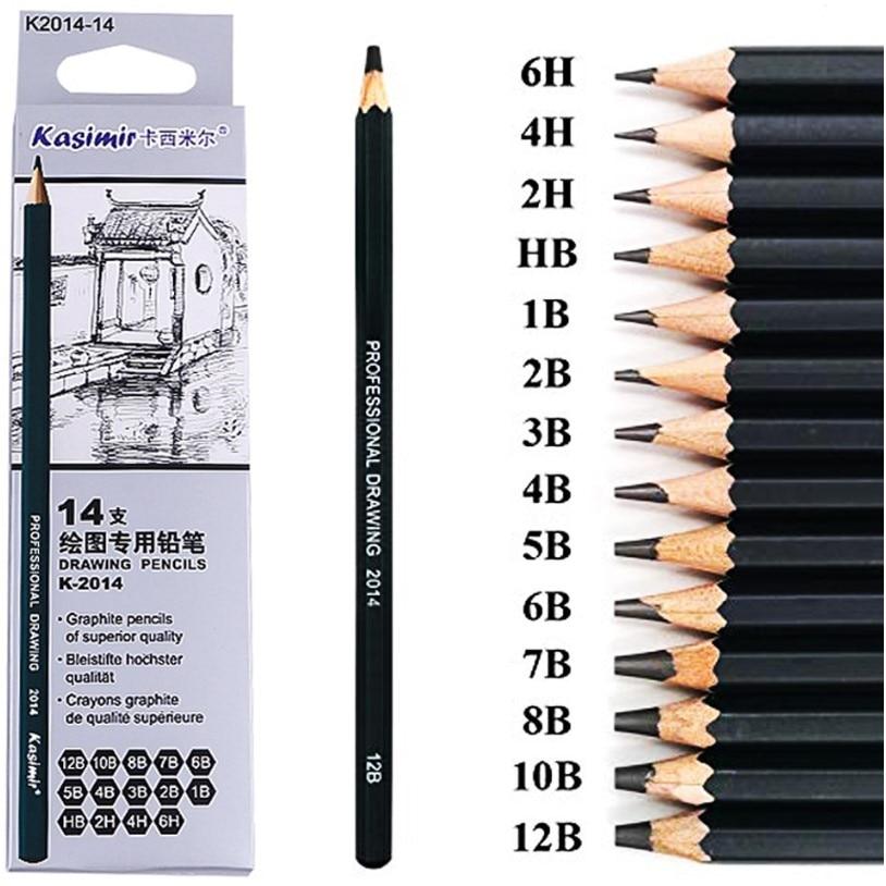 14 Pcs/set Professional Art Sketch Drawing Writing Pencil1B 2B 3B 4B 5B 6B 7B 8B 10B 12B 2H 4H 6H HB Pencil Stationery Supplies