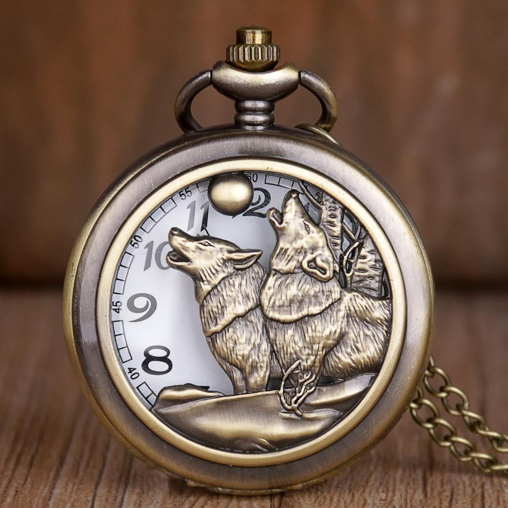 Vintage Bronze Classic Cool Wolf Pattern Quartz Pocket Watch Retro With Fob Chain For Men Women Pendant TD2071