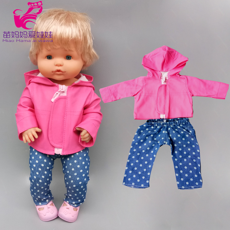 For 40cm Nenuco Baby Doll Clothes Coat Fit 38cm Ropa Y Su Hermanita Doll Leather Jacket