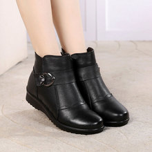Genuine Leather Plush Non-Slip Ankle Boots Women Winter Warm Zip Short Boot Ladies Solid Casual Flat Platform Shoes Botas Mujer wetkiss genuine leather boots women round toe boot short plush chunky heels warm female shoes zip motorcycle casual footwear