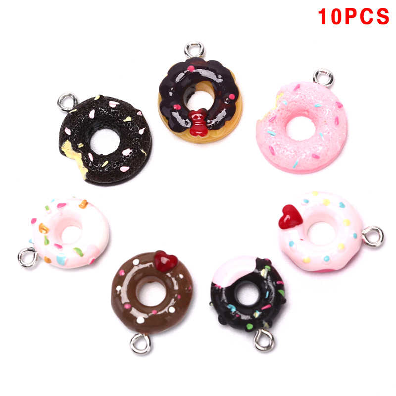 10Pcs/Set Decoration Kawaii Donuts Charms Pendants For DIY  Bracelets Necklace Earring Key Chain Jewelry Making
