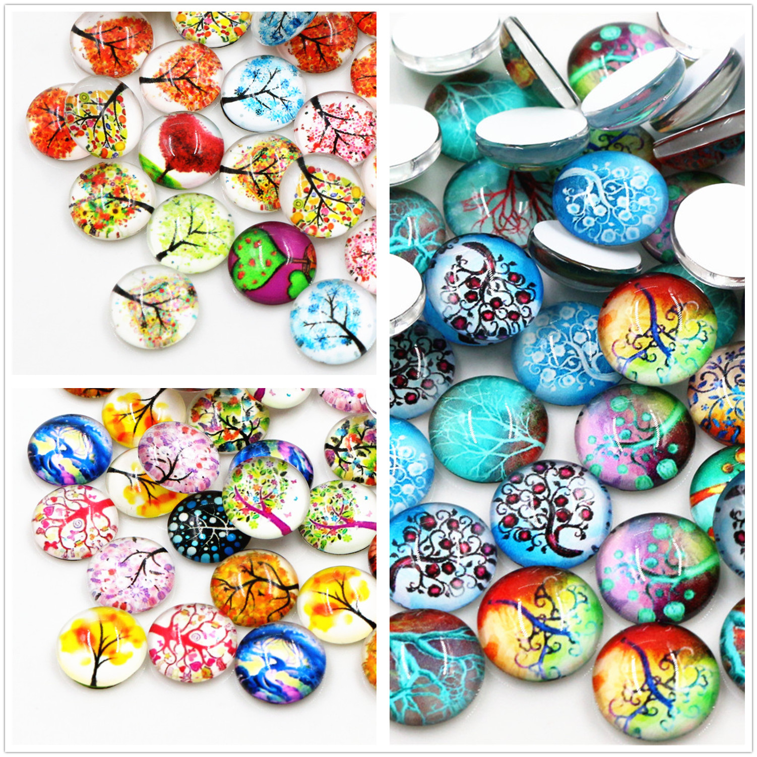 50pcs/Lot 12mm Colorful Fashion New Photo Glass Cabochons Mixed Color Cabochons For Bracelet Earrings Necklace Bases Settings