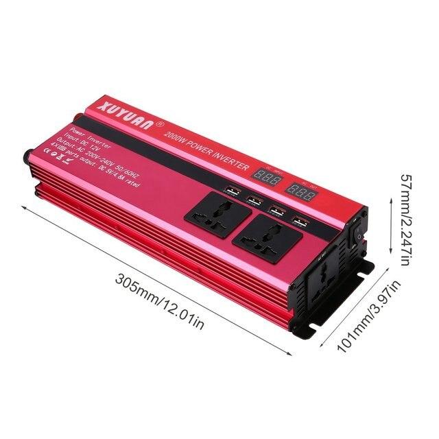4USB 2000W Watt DC 12V à AC 220V portable voiture onduleur chargeur convertisseur