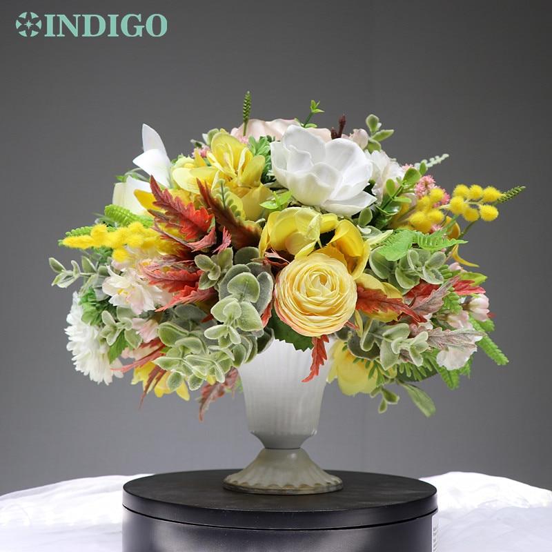 INDIGO conçu-1 ensemble Rose anémone Cymbidium artificielle Arrangement de fleurs bonsaï Bouquet Table pièce maîtresse cadeau livraison gratuite