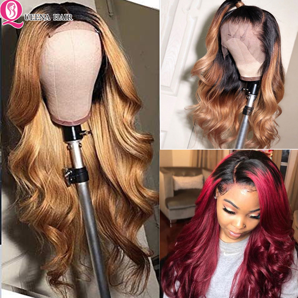Glueless Brazilian Front Lace Wig13x4 Body Wave Colored Human Hair Lace Wigs Ombre Black Burgundy Blonde Lace Wig Natural Remy