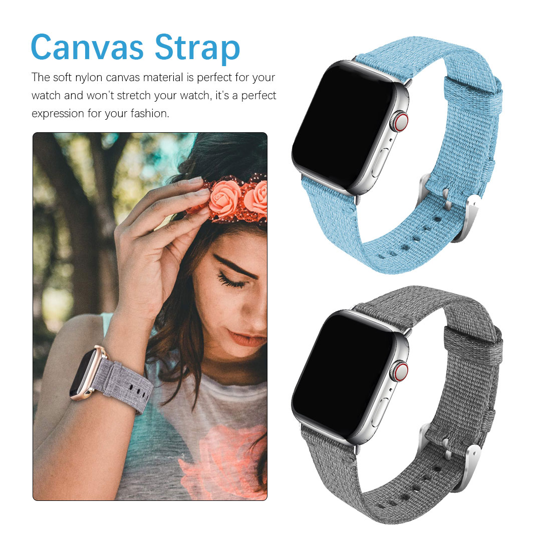 Watch Band Suitable For Apple Watch 4/3/2/1 Nylon Canvas Strap Replacement Wrist Strap Watch Accessories boys girls strap