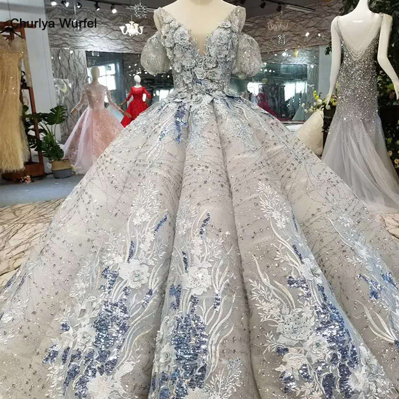 LS11094 Grey Women Occasion Dress Ball Gown Off The Shoulder V-neck Curve Shape Petal Flower Real Photo Free Shipping Prom Dress