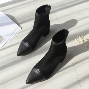 Image 3 - Botines Mujer 2019 חורף מגפי נשים אופנה סתיו פרווה עקבים מחודדת פלוק להחליק על נעלי פאנק גותי נשי נעל אישה