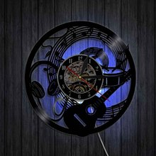 цена на Electric Guitar Design Vinyl Record Wall Clock Musical Instruments Music Studio Unique Modern Art Vintage Vinyl LP Wall Watch