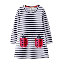 2020 Girl Dress Stripe Long Sleeve Dress Autumn Winter New Cotton Embroidered Flower Sleeve Dress for Girls Children Clothing