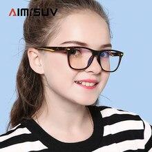 Очки AIMISUV с защитой от сисветильник, модные детские квадратные очки с ацетатными прозрачными линзами UV400, компьютерные детские очки