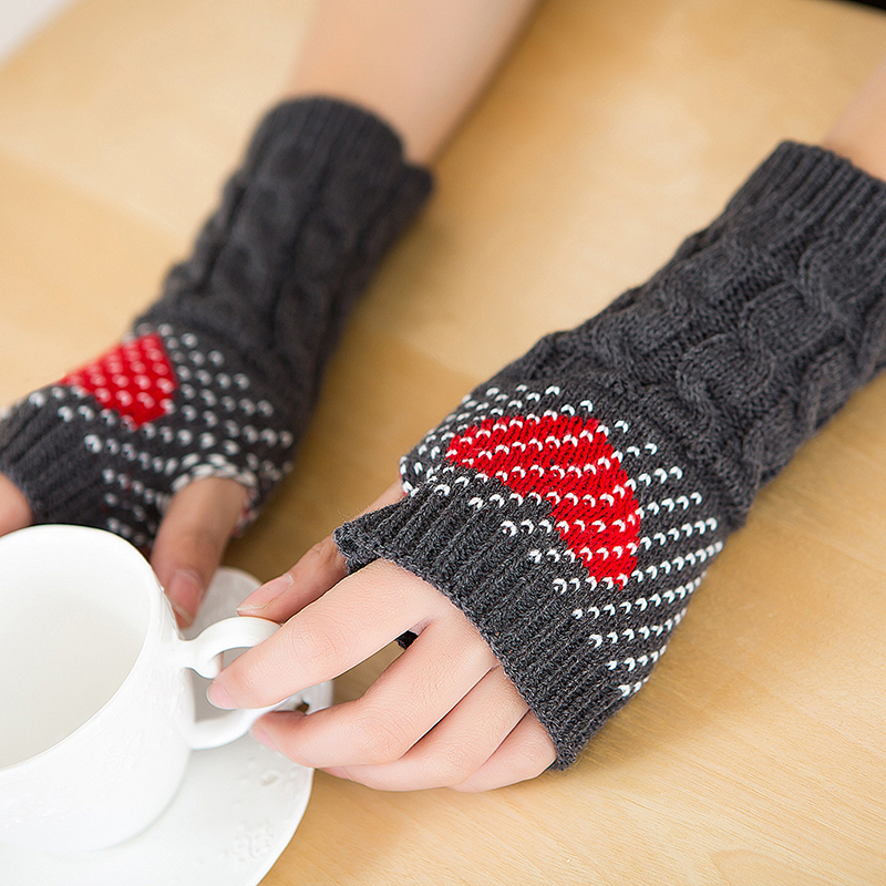 Women Warm Soft Gloves Lady Winter Autumn Arm Warmer Twist Long Fingerless Knit Mitten Heart Style Casual Gloves