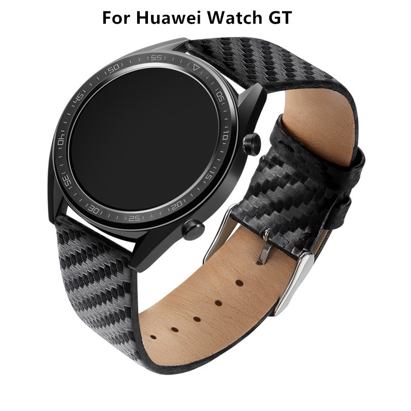 Weaving Style Carbon Fiber Watch Band For Huawei Watch GT 22mm Real Leather Watch Strap Wristband Steel Buckle Belt Bracelet